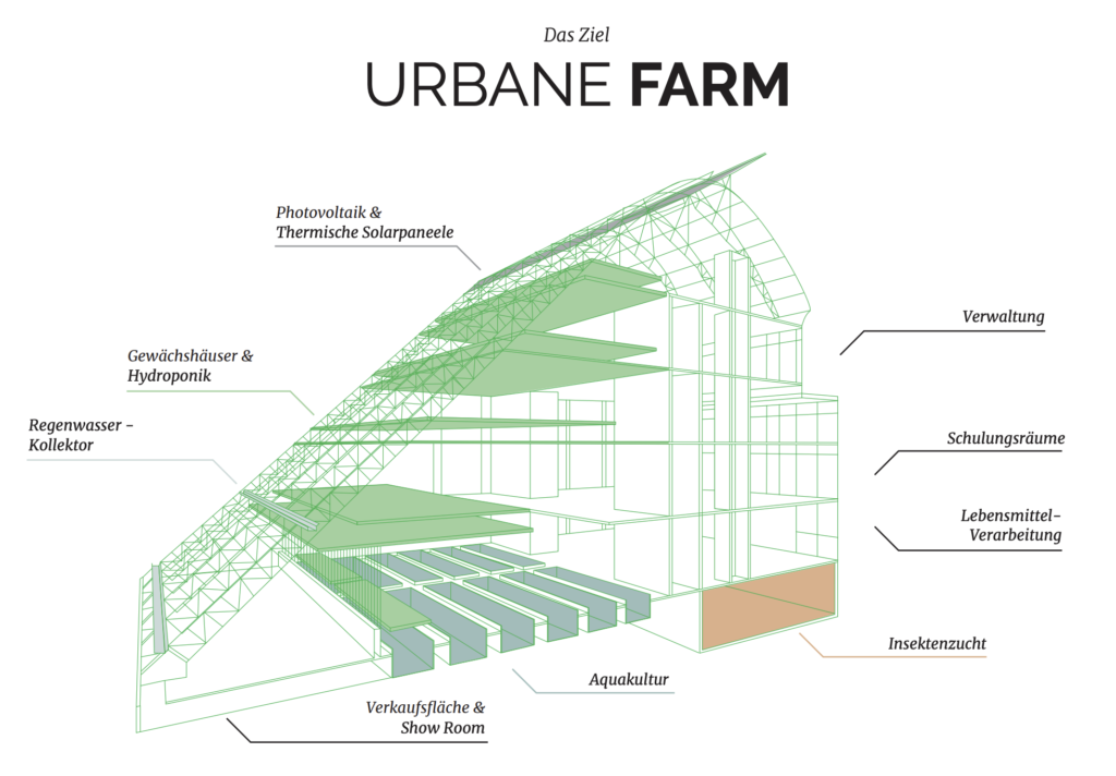 CLOSE THE LOOP - Das Ziel: Die Urbane Farm, Illustration Sophia Kahl, Klimaquartier Arrenberg